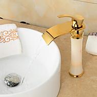 Art Deco / Retro Ti-PVD Finish Jade Brass Waterfall Golden Bathroom Sink Faucet