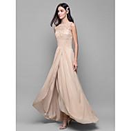 Lanting Bride® Asymmetrisch Chiffon / Spitze Brautjungfernkleid A-Linie Bateau - Linie mit Spitze / Überkreuzte Rüschen
