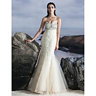 구슬과 TS couture® 공식적인 이브닝 드레스 트럼펫 / 인어 연인 바닥 길이 얇은 명주 그물