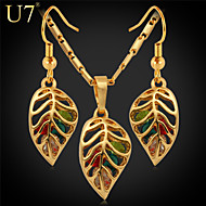 U7® Women's Multicolor Rhinestone Crystal Earrings Platinum/18K Gold Plated Hollow Vintage Necklace Fashion Jewelry Set