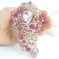 Gorgeous 4.72 Inch Gold-tone Pink Rhinestone Crystal Flower Brooch Pendant Art Deco