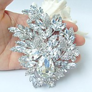 Gorgeous 4.33 Inch Silver-tone Clear Rhinestone Crystal Flower Brooch Wedding Deco Bridal Bouquet