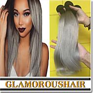 "3 Pcs/Lot 12""-26"" 100% Brazilian Virgin Human Hair #1B-Grey Color Ombre Body Wave Hair Weaves"