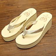 Women's Shoes PVC Flat Heel Flip Flops Slippers Outdoor Black / White