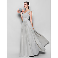 Lanting Bride® Floor-length Chiffon Bridesmaid Dress Sheath / Column Square Plus Size / Petite with Draping