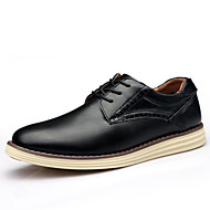 Men's Spring Summer Fall Winter Leather Wedding Office & Career Casual Party & Evening Flat Heel Black Blue Brown Burgundy