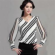 Women's V Neck Blouse , Chiffon Long Sleeve