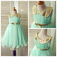 Princess Tea-length Flower Girl Dress - Chiffon/Sequined Sleeveless
