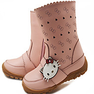 Girls' Shoes Casual Leatherette Boots Winter Round Toe Flat Heel Pink / White / Khaki