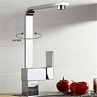 Contemporary Centerset Rotatable with  Ceramic Valve Single Handle One Hole for  Chrome , Bathroom Sink Faucet