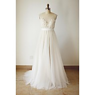 A-line Plus Sizes / Petite Wedding Dress - Chic & Modern Wedding Dresses in Color Sweep / Brush Train Scoop Tulle withAppliques / Beading