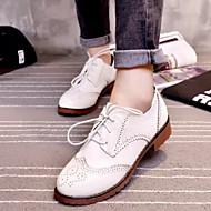 Women's Shoes British Style Vintage Fashion Flat Heel Comfort Oxfords Dress / Casual Black / White / Burgundy