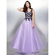Formal Evening Dress - Lavender A-line V-neck Floor-length Lace / Tulle