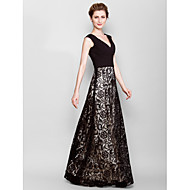 Sheath/Column Plus Sizes / Petite Mother of the Bride Dress - Black Floor-length Sleeveless Lace / Georgette