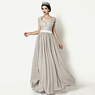 Formal Evening Dress - Silver A-line Queen Anne Floor-length Chiffon