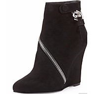 Women's Shoes Fleece Wedge Heel Bootie Boots Office & Career / Party & Evening / Dress Black