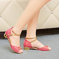 Zapatos de baile (Rojo/Oro) - Danza latina - No Personalizable - Tacón plano