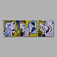 Hand-Painted Oil Painting on Canvas Wall Art Modern Pop Art Girls Lady Three Panel Ready to Hang