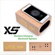 Cargador inalámbrico bluetooth x5 4.0 de altavoces de madera con la función de manos libres de alarma termómetro nfc