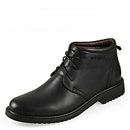 Men's Spring / Summer / Fall / Winter Round Toe Leather Casual Low Heel Lace-up Black / Brown