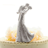 Cake Topper Non-personalized Classic Couple Chrome Wedding / Anniversary White Classic Theme OPP