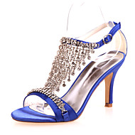 Women's Spring Summer Fall Satin Wedding Party & Evening Stiletto Heel Black Blue Purple Red Ivory White Silver