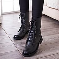 Calçados Femininos - Botas - Coturno / Arrendondado - Salto Baixo - Preto - Courino - Casual