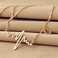 Titanium Steel 18k Golden Electrocardiogram Shape Pendant Necklace