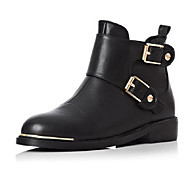 Women's Shoes Leather Low Heel Riding Boots / Round Toe Boots Outdoor / Casual Black
