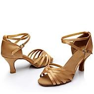 Customizable Women's Dance Shoes Satin / Leatherette Satin / Leatherette Latin / Ballroom Sandals Customized Heel PerformanceBlack /