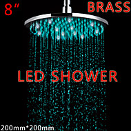 8 Inch Round Brass 3 Colors LED Rain Shower Contemporary LED / LED Rainfall Shower Heads