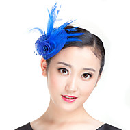 Handmade Small Sinamay Feather Pearl Brooch Fascinators Clip Headpiece (more colors)