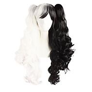 anime fashion must-have Festival langen lockigen schwarzen und weißen und Doppelfarbe Haarqualität Perücken