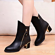 Women's Shoes Patent Leather Chunky Heel Bootie/Pointed Toe Boots Casual Black