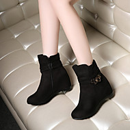 Women's Shoes Fleece Wedge Heel Wedges/Fashion Boots/Round Toe Boots Dress/Casual Black/Blue/Red