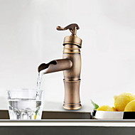 Centerset Antique Copper Finish Single Handle Brass Bathroom Sink Faucet