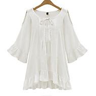 Women's Solid White / Black T-shirt , Round Neck Long SleevePlus size