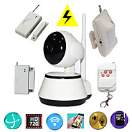H.264 1.0MP HD 720P IP Camera P2P Pan IR Cut TF Card WiFi Network IP Security System With Wireless Alarm Detector