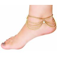 Frauen mehrschichtige Kette Quaste Zirkon Fußkettchen