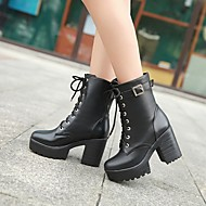 Women's Shoes Leatherette Chunky Heel Platform / Riding Boots Boots Outdoor / Office & Career / Casual