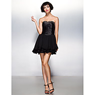 TS Couture Cocktail Party Dress - Black A-line Sweetheart Short/Mini Chiffon / Stretch Satin