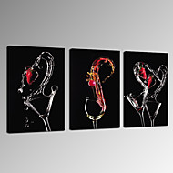 VISUAL STAR®Modern Strawberry Cocktail Canvas Wall Art Triptych Photographic Digital Printing Artwork Ready to Hang