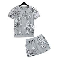 Blomma Kortärmad T-shirt Kvinnors Rund hals Elastan