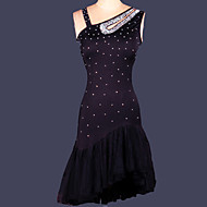 Latin Dance Dresses Women's Performance Training Spandex Crystals/Rhinestones Draped 1 Piece Sleeveless DressS-XXL:78-85cm /