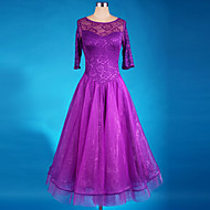 Ballroom Dance Dresses Women's Performance Chinlon Crepe Draped 1 Piece Long Sleeve Dress 125