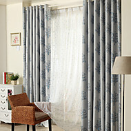 (Two Panels)Modern Dual-Side  Trees Jacquard  Faux Silk Polyester Blackout Curtain(Sheer Not Included)