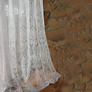 Two Panels White Country European Jacquard Bedroom Sheer Curtains Drapes