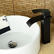 Contemporary ORB Waterfall Brass Heightening Bathroom Basin Faucet - Black
