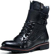 Men's Shoes Wedding / Party & Evening / Casual Leather / Canvas Boots Black
