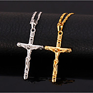 U7®Hot Sale 18K Real Gold Platinum Plated Jesus Cro Pendant Necklace Gift for Women